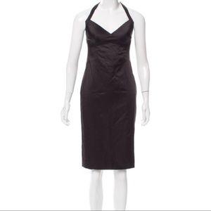 Moschino Cheap And Chic Satin Midi Halter Dress